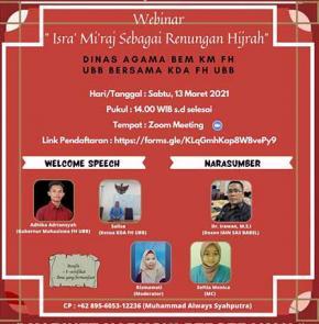 Webinar Keagamaan Isra Miraj Sebagai Renungan Hijrah